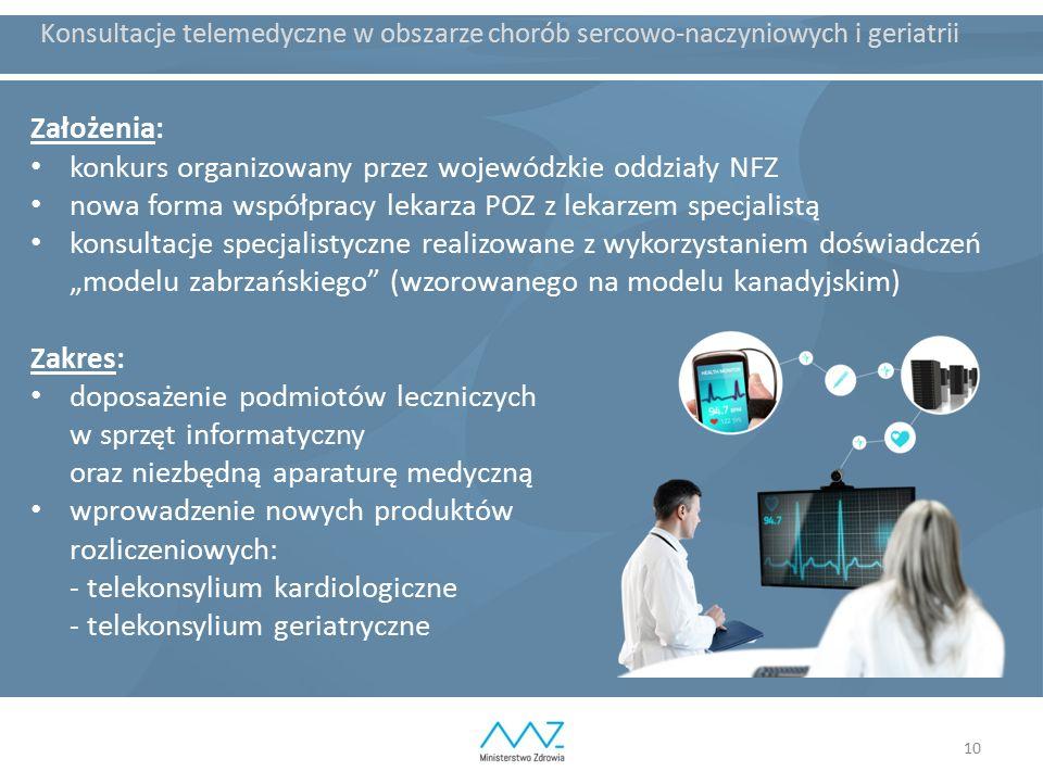 10 Konsultacje telemedyczne w obszarze chorób sercowo-naczyniowych i geriatrii Założenia: konkurs organizowany przez wojewódzkie oddziały NFZ nowa for