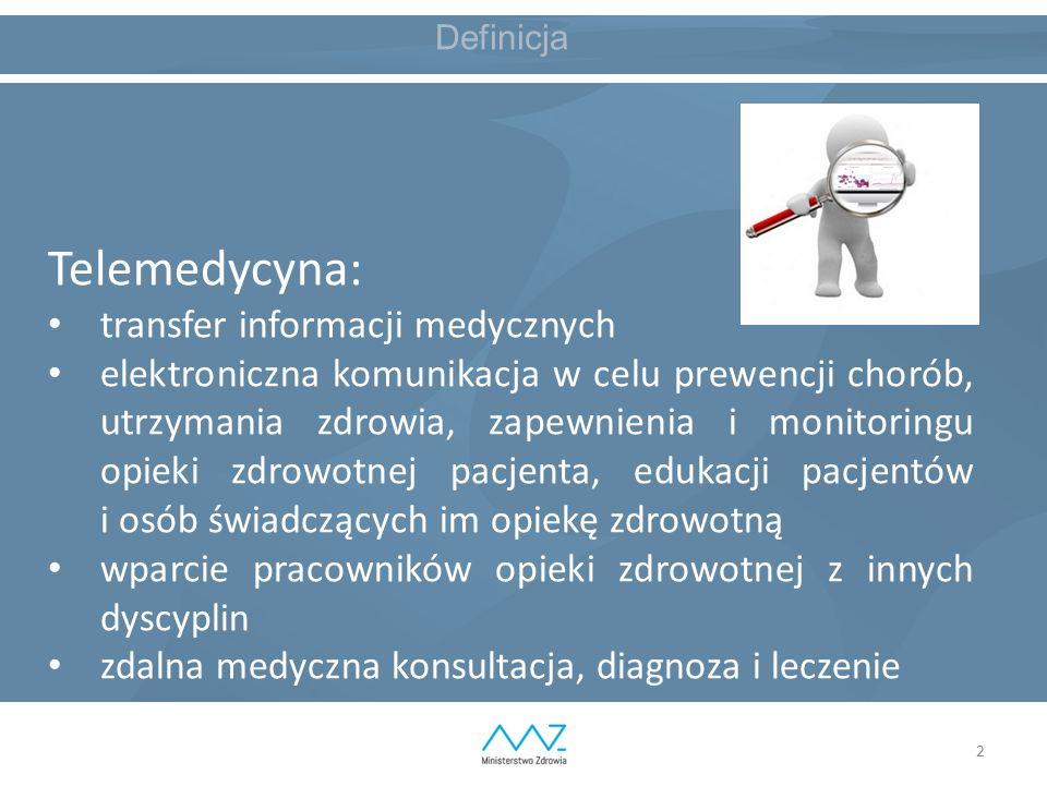 2 Definicja Telemedycyna: transfer informacji medycznych elektroniczna komunikacja w celu prewencji chorób, utrzymania zdrowia, zapewnienia i monitoringu opieki zdrowotnej pacjenta, edukacji pacjentów i osób świadczących im opiekę zdrowotną wparcie pracowników opieki zdrowotnej z innych dyscyplin zdalna medyczna konsultacja, diagnoza i leczenie