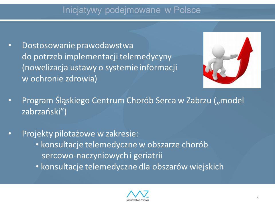 """5 Inicjatywy podejmowane w Polsce Dostosowanie prawodawstwa do potrzeb implementacji telemedycyny (nowelizacja ustawy o systemie informacji w ochronie zdrowia) Program Śląskiego Centrum Chorób Serca w Zabrzu (""""model zabrzański ) Projekty pilotażowe w zakresie: konsultacje telemedyczne w obszarze chorób sercowo-naczyniowych i geriatrii konsultacje telemedyczne dla obszarów wiejskich"""