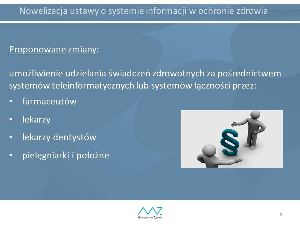 6 Nowelizacja ustawy o systemie informacji w ochronie zdrowia Proponowane zmiany: umożliwienie udzielania świadczeń zdrowotnych za pośrednictwem systemów teleinformatycznych lub systemów łączności przez: farmaceutów lekarzy lekarzy dentystów pielęgniarki i położne