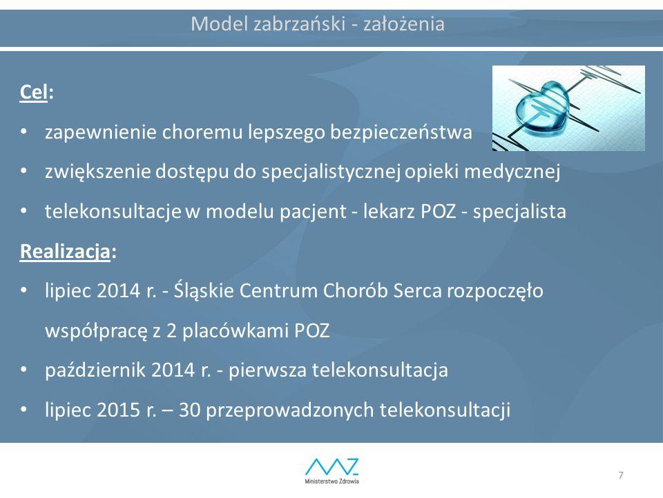7 Model zabrzański - założenia Cel: zapewnienie choremu lepszego bezpieczeństwa zwiększenie dostępu do specjalistycznej opieki medycznej telekonsultac