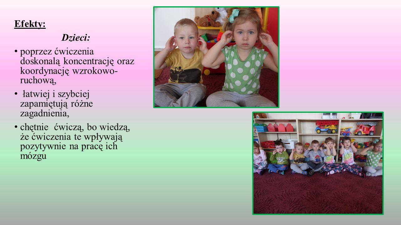 Efekty: Dzieci: poprzez ćwiczenia doskonalą koncentrację oraz koordynację wzrokowo- ruchową, łatwiej i szybciej zapamiętują różne zagadnienia, chętnie