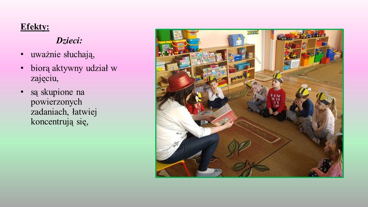 Efekty: Dzieci: uważnie słuchają, biorą aktywny udział w zajęciu, są skupione na powierzonych zadaniach, łatwiej koncentrują się,