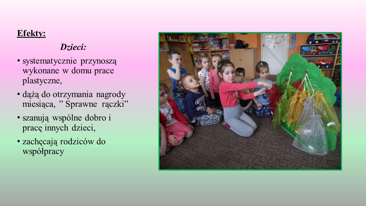 Efekty: Dzieci: systematycznie przynoszą wykonane w domu prace plastyczne, dążą do otrzymania nagrody miesiąca, Sprawne rączki szanują wspólne dobro i pracę innych dzieci, zachęcają rodziców do współpracy
