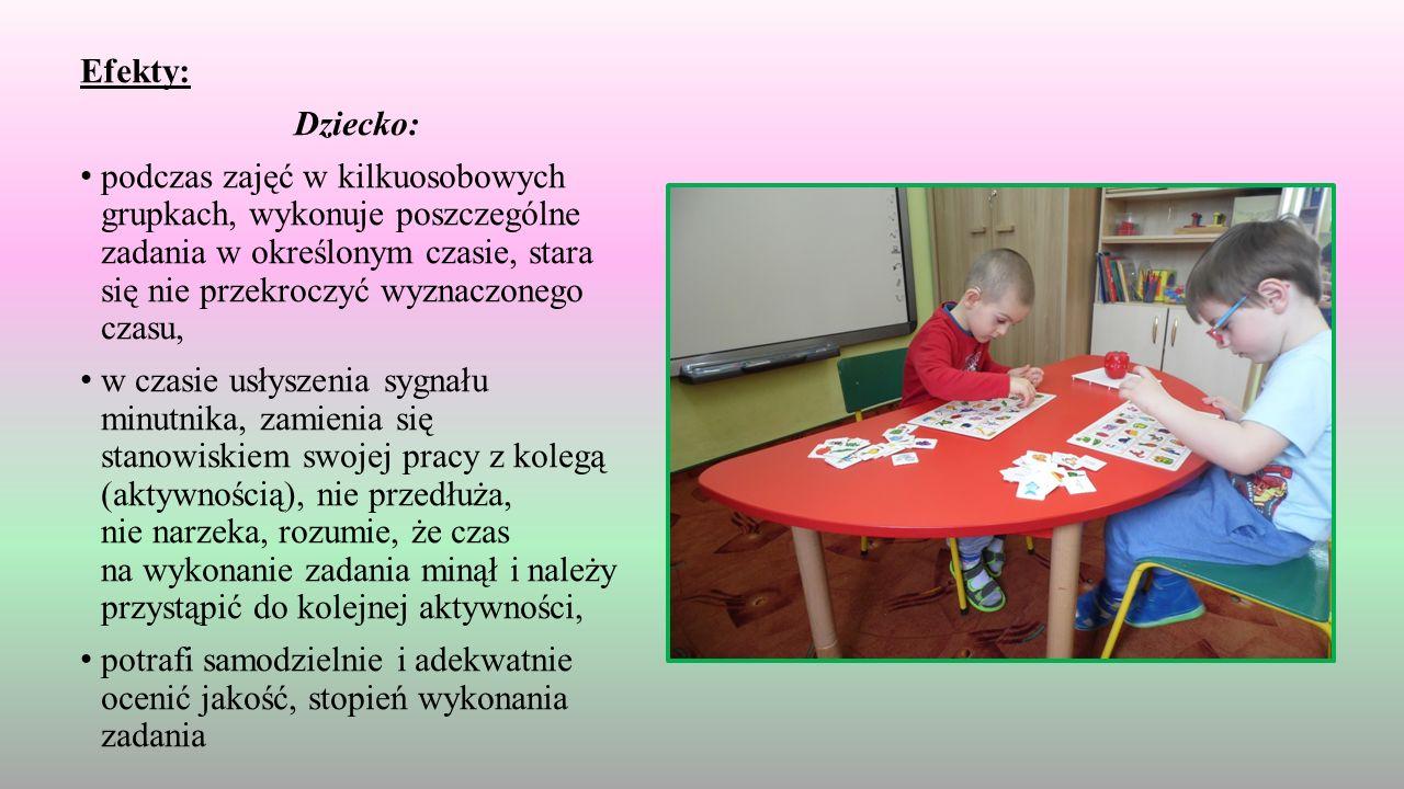 Efekty: Dziecko: podczas zajęć w kilkuosobowych grupkach, wykonuje poszczególne zadania w określonym czasie, stara się nie przekroczyć wyznaczonego czasu, w czasie usłyszenia sygnału minutnika, zamienia się stanowiskiem swojej pracy z kolegą (aktywnością), nie przedłuża, nie narzeka, rozumie, że czas na wykonanie zadania minął i należy przystąpić do kolejnej aktywności, potrafi samodzielnie i adekwatnie ocenić jakość, stopień wykonania zadania