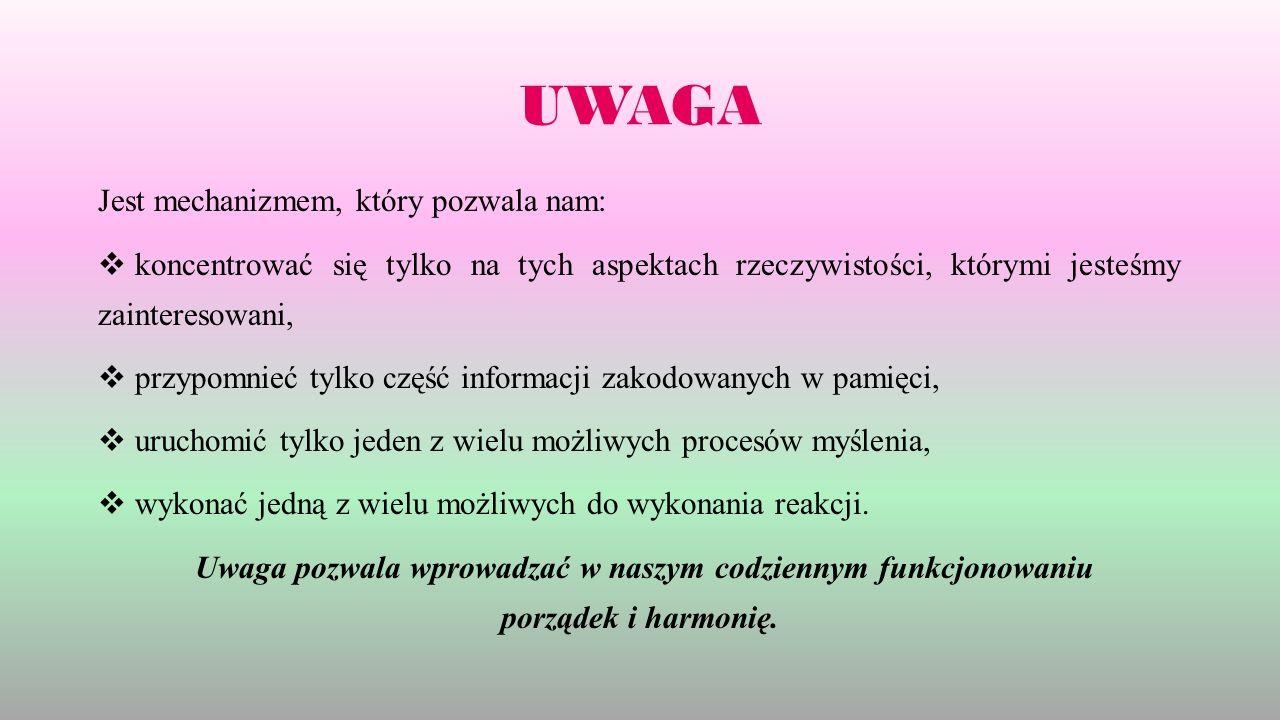 UWAGA Jest mechanizmem, który pozwala nam:  koncentrować się tylko na tych aspektach rzeczywistości, którymi jesteśmy zainteresowani,  przypomnieć t