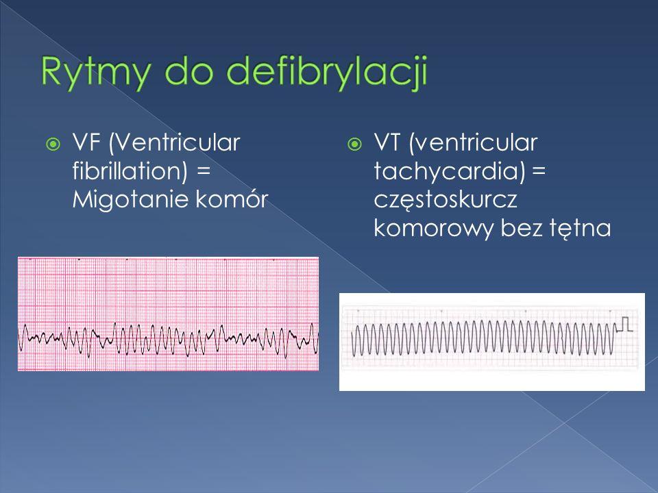  VF (Ventricular fibrillation) = Migotanie komór  VT (ventricular tachycardia) = częstoskurcz komorowy bez tętna
