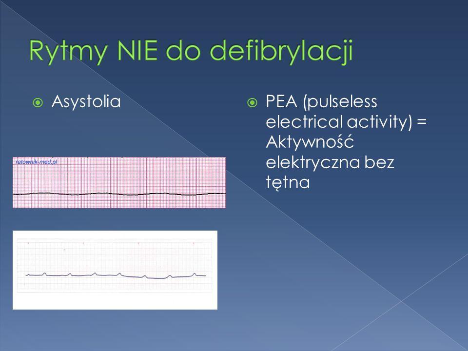  Asystolia  PEA (pulseless electrical activity) = Aktywność elektryczna bez tętna