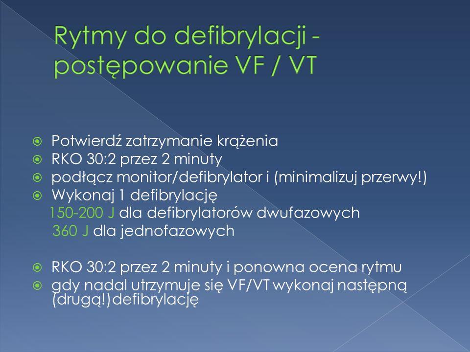  Potwierdź zatrzymanie krążenia  RKO 30:2 przez 2 minuty  podłącz monitor/defibrylator i (minimalizuj przerwy!)  Wykonaj 1 defibrylację 150-200 J dla defibrylatorów dwufazowych 360 J dla jednofazowych  RKO 30:2 przez 2 minuty i ponowna ocena rytmu  gdy nadal utrzymuje się VF/VT wykonaj następną (drugą!)defibrylację