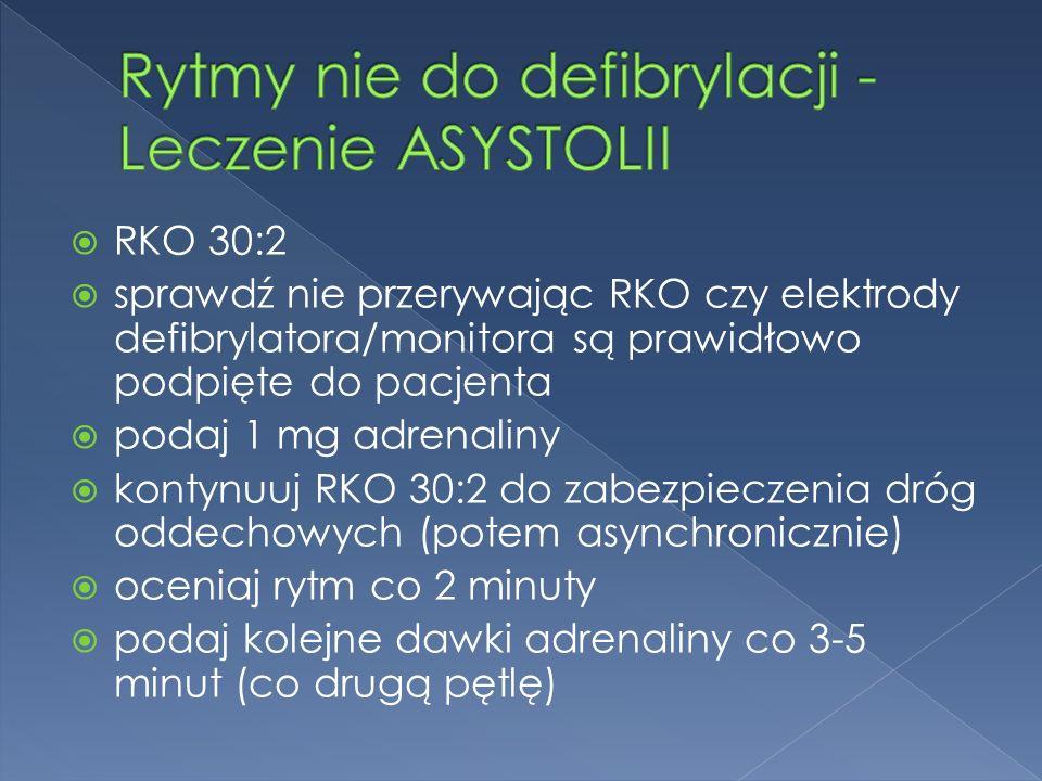  RKO 30:2  sprawdź nie przerywając RKO czy elektrody defibrylatora/monitora są prawidłowo podpięte do pacjenta  podaj 1 mg adrenaliny  kontynuuj RKO 30:2 do zabezpieczenia dróg oddechowych (potem asynchronicznie)  oceniaj rytm co 2 minuty  podaj kolejne dawki adrenaliny co 3-5 minut (co drugą pętlę)