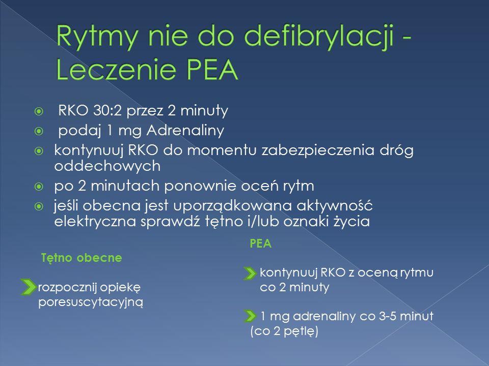  RKO 30:2 przez 2 minuty  podaj 1 mg Adrenaliny  kontynuuj RKO do momentu zabezpieczenia dróg oddechowych  po 2 minutach ponownie oceń rytm  jeśli obecna jest uporządkowana aktywność elektryczna sprawdź tętno i/lub oznaki życia Tętno obecne rozpocznij opiekę poresuscytacyjną PEA kontynuuj RKO z oceną rytmu co 2 minuty 1 mg adrenaliny co 3-5 minut (co 2 pętlę)