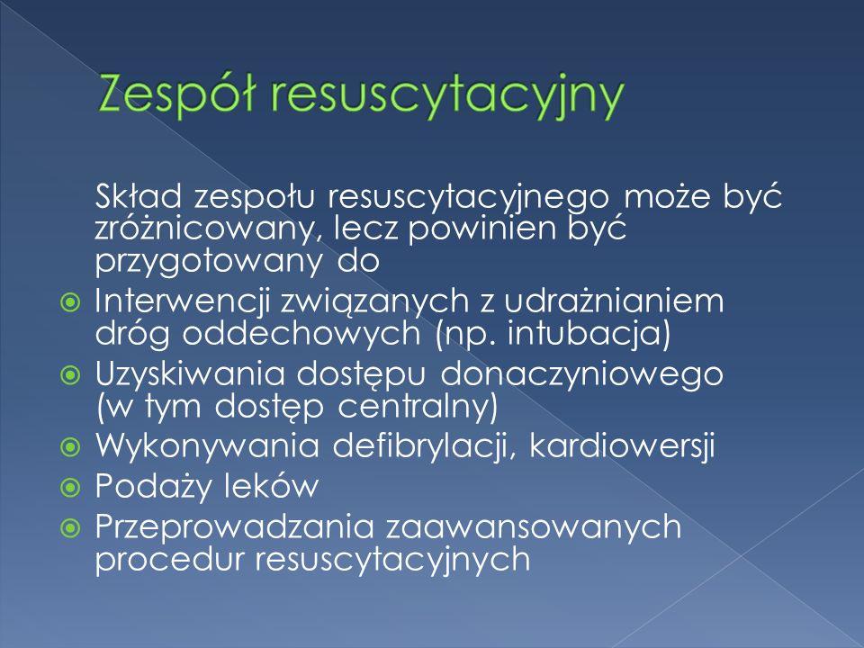 Skład zespołu resuscytacyjnego może być zróżnicowany, lecz powinien być przygotowany do  Interwencji związanych z udrażnianiem dróg oddechowych (np.