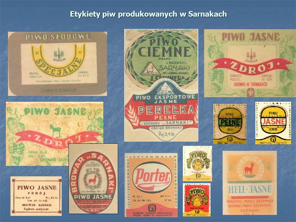 Etykiety piw produkowanych w Sarnakach