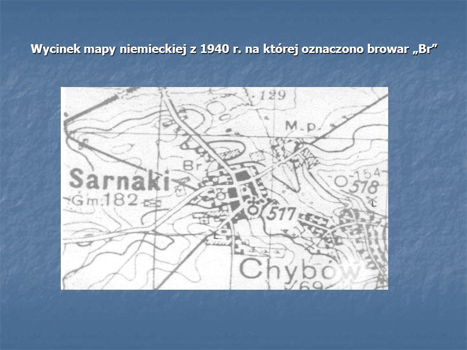 """Wycinek mapy niemieckiej z 1940 r. na której oznaczono browar """"Br"""