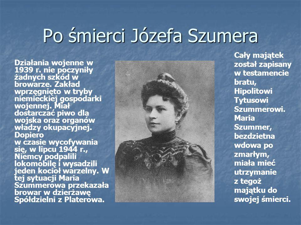 Po śmierci Józefa Szumera Cały majątek został zapisany w testamencie bratu, Hipolitowi Tytusowi Szummerowi.