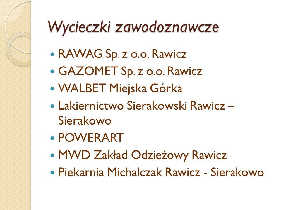 Wycieczki zawodoznawcze RAWAG Sp. z o.o. Rawicz GAZOMET Sp. z o.o. Rawicz WALBET Miejska Górka Lakiernictwo Sierakowski Rawicz – Sierakowo POWERART MW