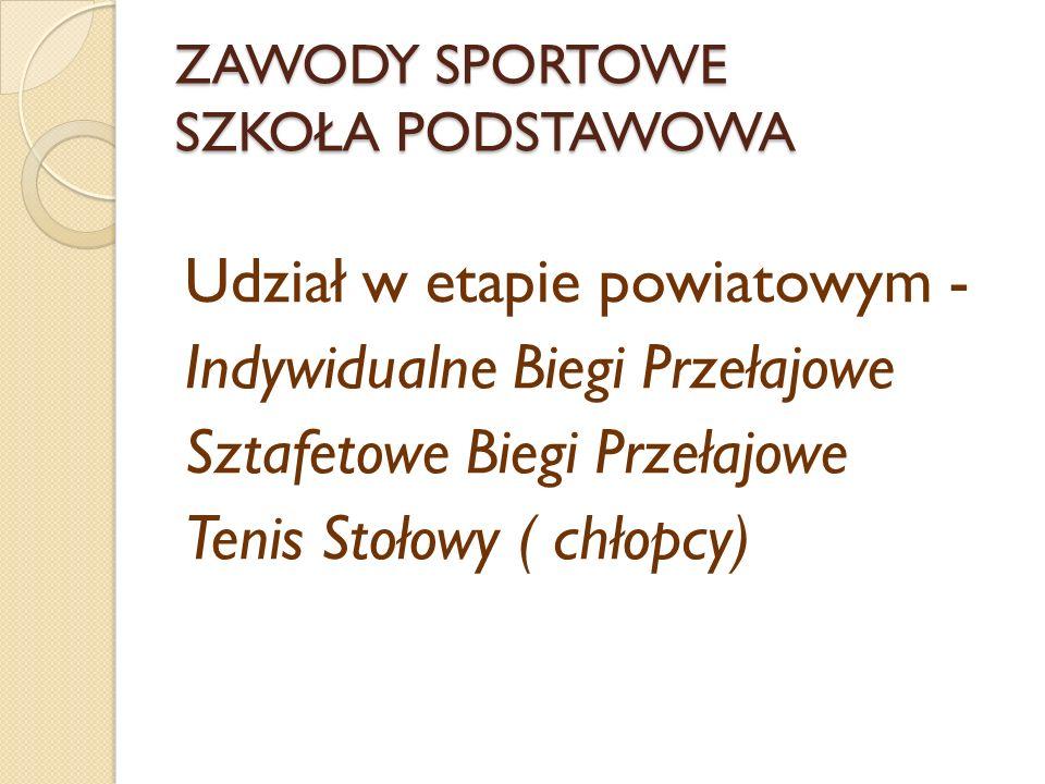 ZAWODY SPORTOWE SZKOŁA PODSTAWOWA Udział w etapie powiatowym - Indywidualne Biegi Przełajowe Sztafetowe Biegi Przełajowe Tenis Stołowy ( chłopcy)