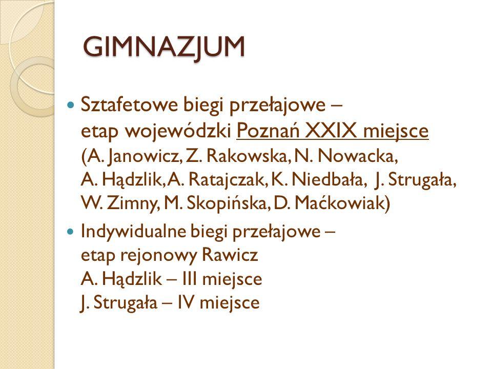 GIMNAZJUM Sztafetowe biegi przełajowe – etap wojewódzki Poznań XXIX miejsce (A. Janowicz, Z. Rakowska, N. Nowacka, A. Hądzlik, A. Ratajczak, K. Niedba