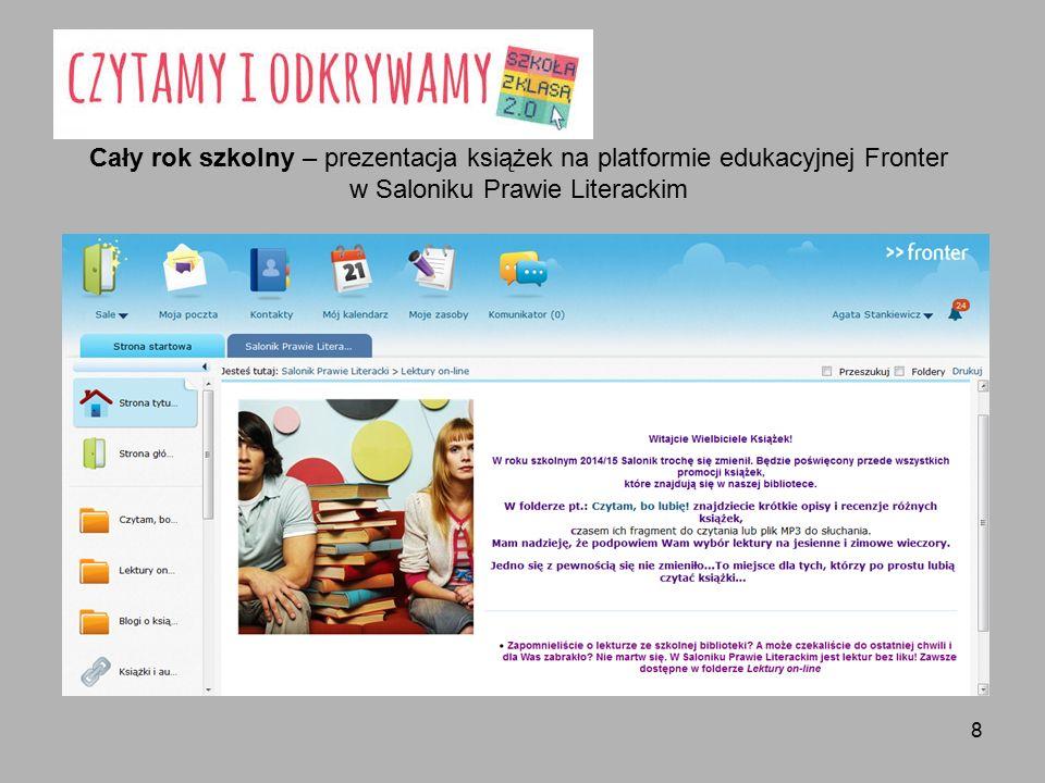 8 Cały rok szkolny – prezentacja książek na platformie edukacyjnej Fronter w Saloniku Prawie Literackim