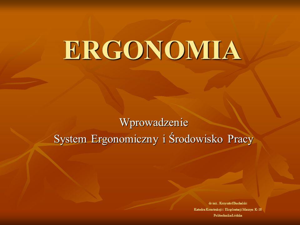 ERGONOMIA Wprowadzenie System Ergonomiczny i Środowisko Pracy dr inż..