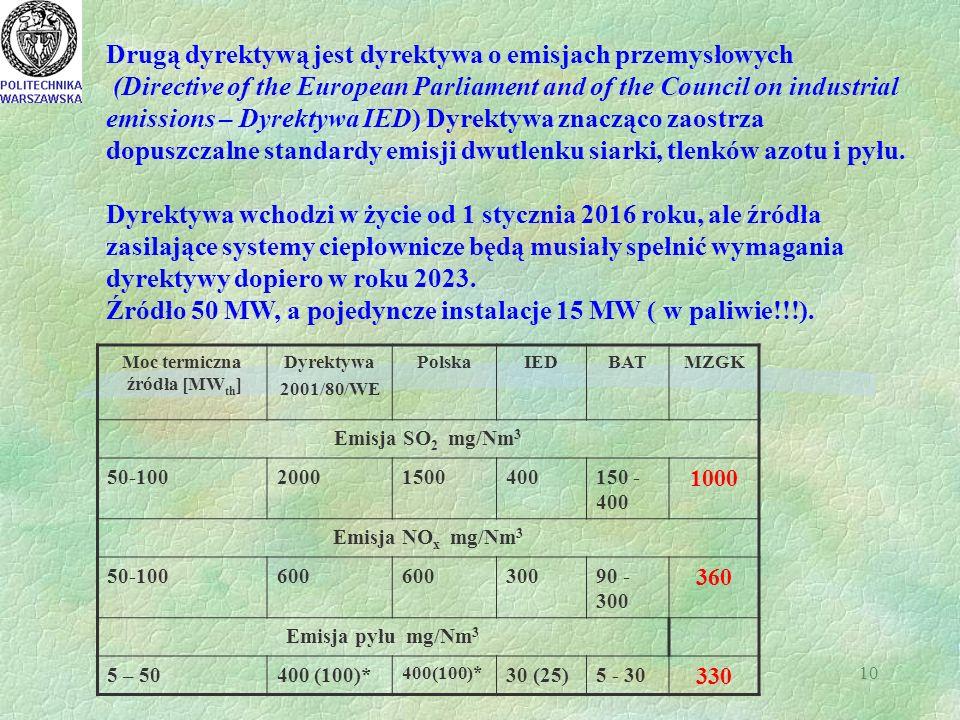 10 Moc termiczna źródła [MW th ] Dyrektywa 2001/80/WE PolskaIEDBATMZGK Emisja SO 2 mg/Nm 3 50-10020001500400150 - 400 1000 Emisja NO x mg/Nm 3 50-100600 30090 - 300 360 Emisja pyłu mg/Nm 3 5 – 50400 (100)* 30 (25)5 - 30 330 Drugą dyrektywą jest dyrektywa o emisjach przemysłowych (Directive of the European Parliament and of the Council on industrial emissions – Dyrektywa IED) Dyrektywa znacząco zaostrza dopuszczalne standardy emisji dwutlenku siarki, tlenków azotu i pyłu.
