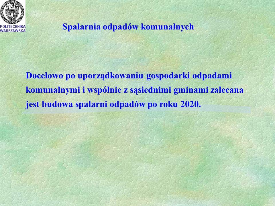 Spalarnia odpadów komunalnych Docelowo po uporządkowaniu gospodarki odpadami komunalnymi i wspólnie z sąsiednimi gminami zalecana jest budowa spalarni odpadów po roku 2020.