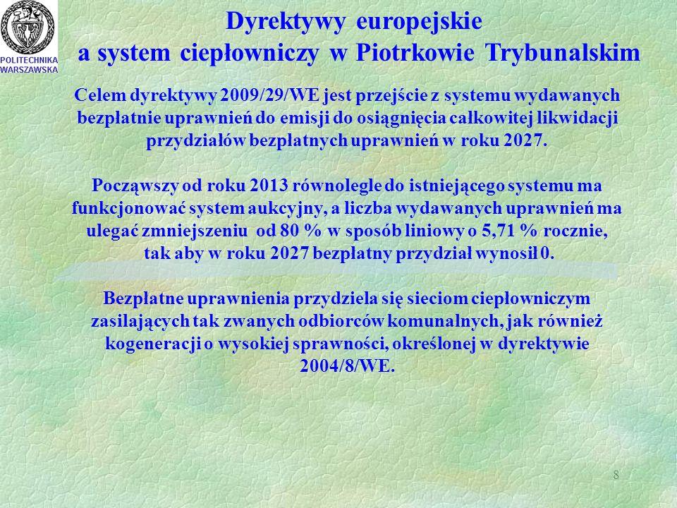 8 Dyrektywy europejskie a system ciepłowniczy w Piotrkowie Trybunalskim Celem dyrektywy 2009/29/WE jest przejście z systemu wydawanych bezpłatnie uprawnień do emisji do osiągnięcia całkowitej likwidacji przydziałów bezpłatnych uprawnień w roku 2027.