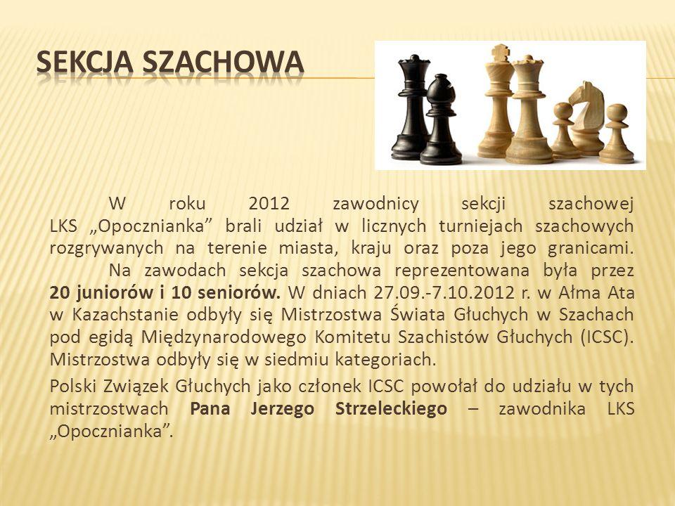 """W roku 2012 zawodnicy sekcji szachowej LKS """"Opocznianka brali udział w licznych turniejach szachowych rozgrywanych na terenie miasta, kraju oraz poza jego granicami."""