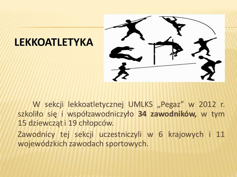 """LEKKOATLETYKA W sekcji lekkoatletycznej UMLKS """"Pegaz w 2012 r."""