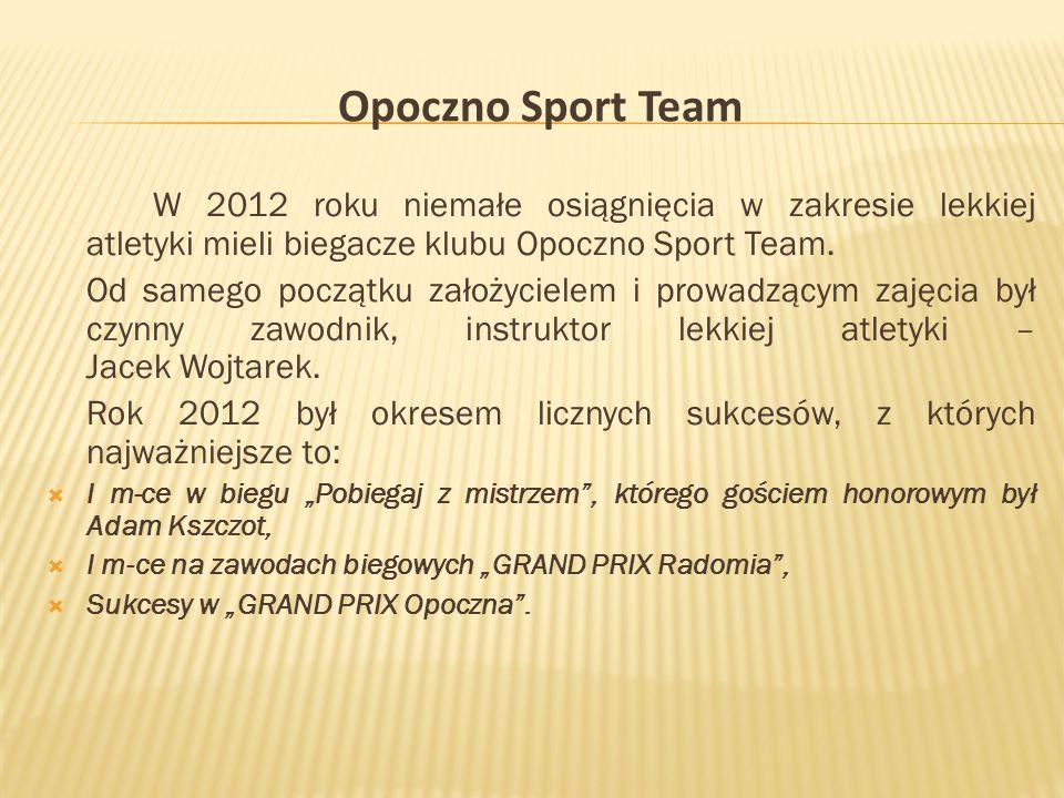 Opoczno Sport Team W 2012 roku niemałe osiągnięcia w zakresie lekkiej atletyki mieli biegacze klubu Opoczno Sport Team.