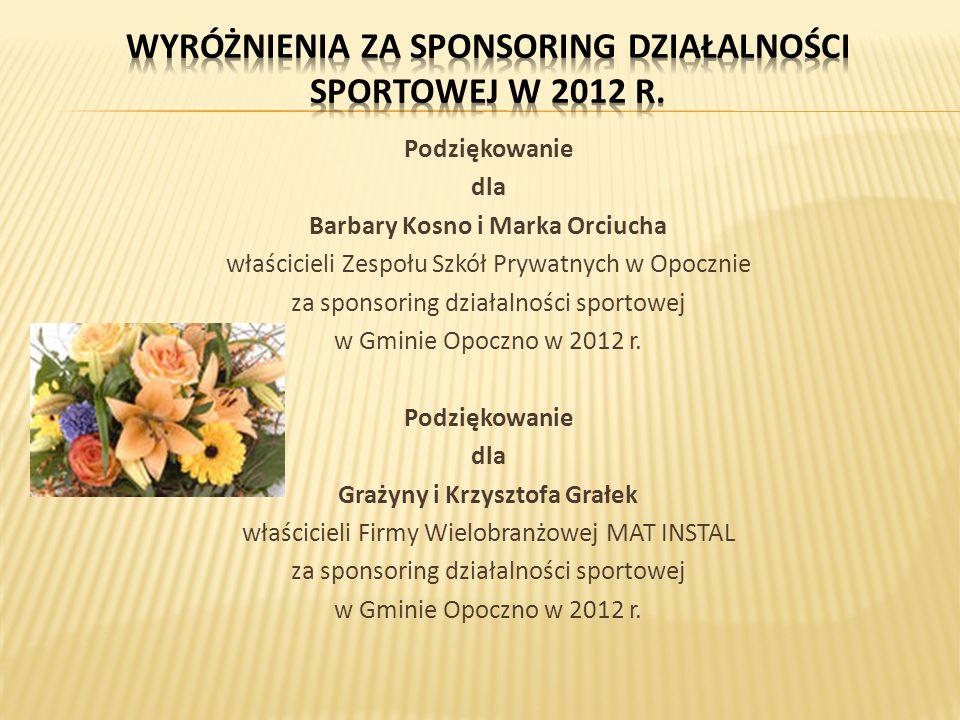 Podziękowanie dla Barbary Kosno i Marka Orciucha właścicieli Zespołu Szkół Prywatnych w Opocznie za sponsoring działalności sportowej w Gminie Opoczno w 2012 r.