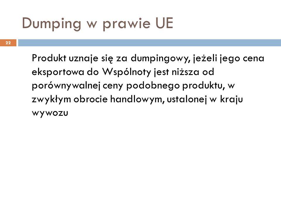 Dumping w prawie UE 22 Produkt uznaje się za dumpingowy, jeżeli jego cena eksportowa do Wspólnoty jest niższa od porównywalnej ceny podobnego produktu, w zwykłym obrocie handlowym, ustalonej w kraju wywozu