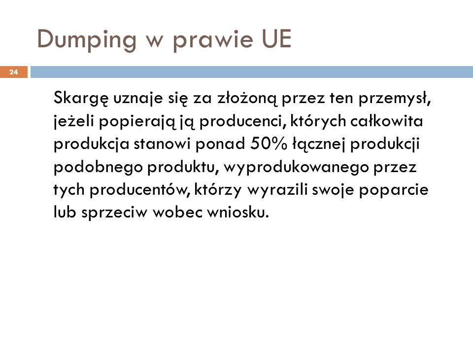 Dumping w prawie UE 24 Skargę uznaje się za złożoną przez ten przemysł, jeżeli popierają ją producenci, których całkowita produkcja stanowi ponad 50% łącznej produkcji podobnego produktu, wyprodukowanego przez tych producentów, którzy wyrazili swoje poparcie lub sprzeciw wobec wniosku.
