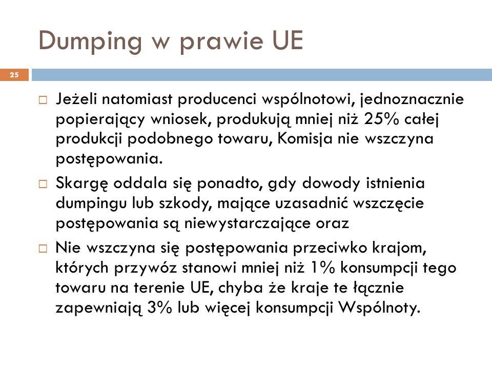 Dumping w prawie UE 25  Jeżeli natomiast producenci wspólnotowi, jednoznacznie popierający wniosek, produkują mniej niż 25% całej produkcji podobnego towaru, Komisja nie wszczyna postępowania.