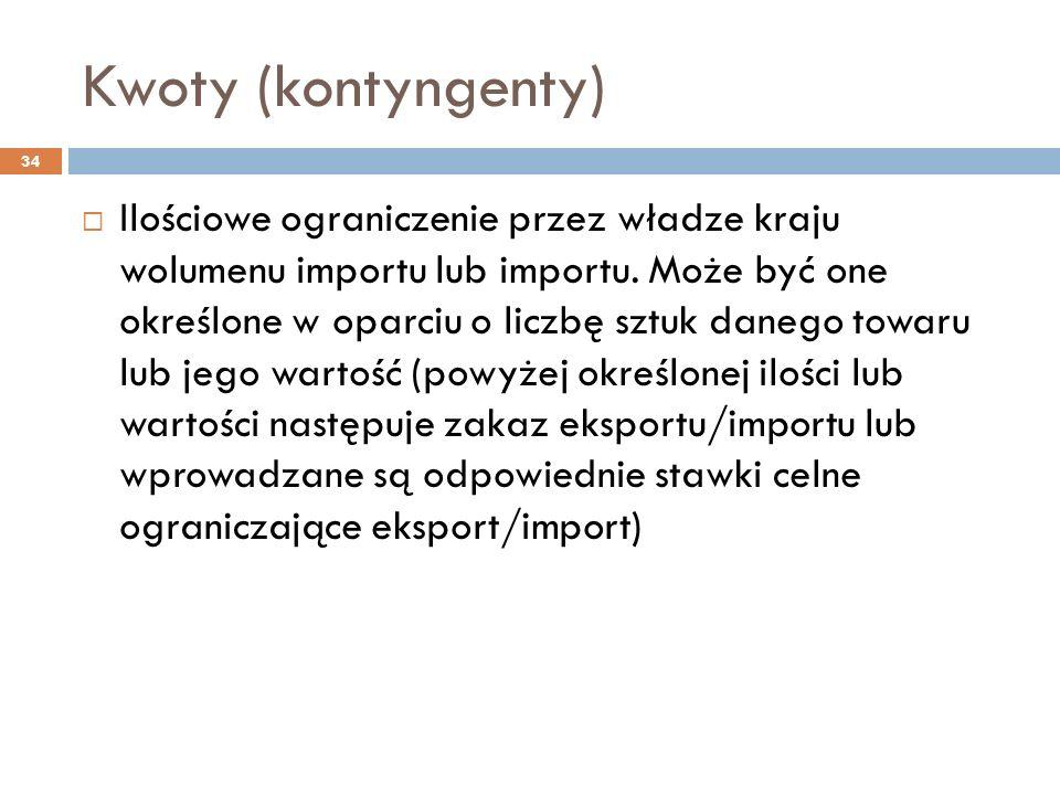 Kwoty (kontyngenty) 34  Ilościowe ograniczenie przez władze kraju wolumenu importu lub importu.