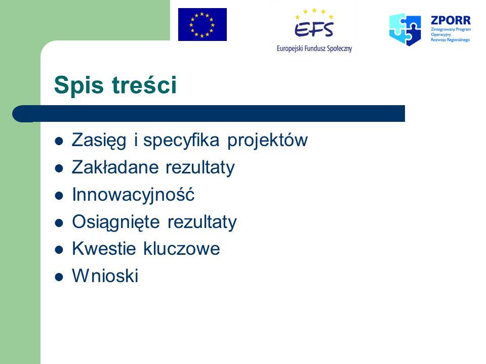 Spis treści Zasięg i specyfika projektów Zakładane rezultaty Innowacyjność Osiągnięte rezultaty Kwestie kluczowe Wnioski