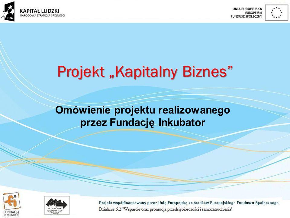 """Omówienie projektu realizowanego przez Fundację Inkubator Projekt """"Kapitalny Biznes"""
