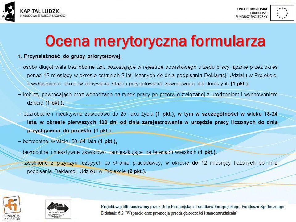 Ocena merytoryczna formularza 1.