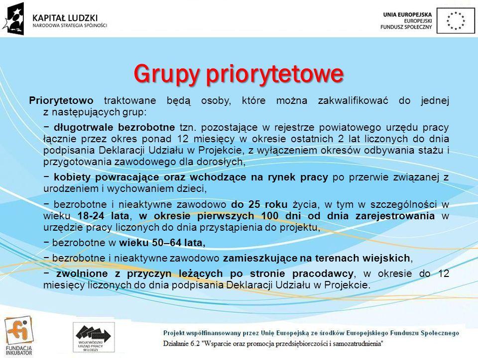 Grupy priorytetowe Priorytetowo traktowane będą osoby, które można zakwalifikować do jednej z następujących grup: − długotrwale bezrobotne tzn.