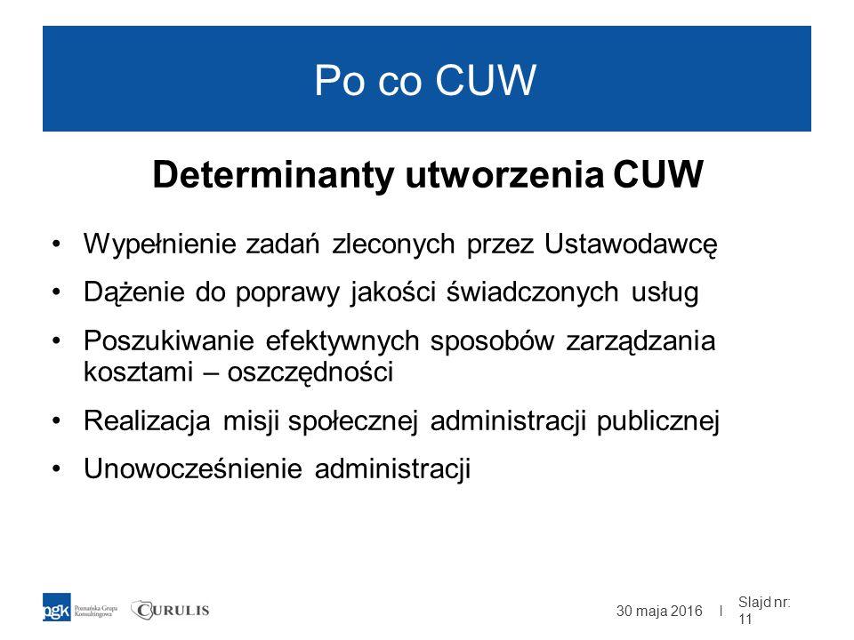 | Po co CUW Determinanty utworzenia CUW Wypełnienie zadań zleconych przez Ustawodawcę Dążenie do poprawy jakości świadczonych usług Poszukiwanie efektywnych sposobów zarządzania kosztami – oszczędności Realizacja misji społecznej administracji publicznej Unowocześnienie administracji 30 maja 2016 Slajd nr: 11
