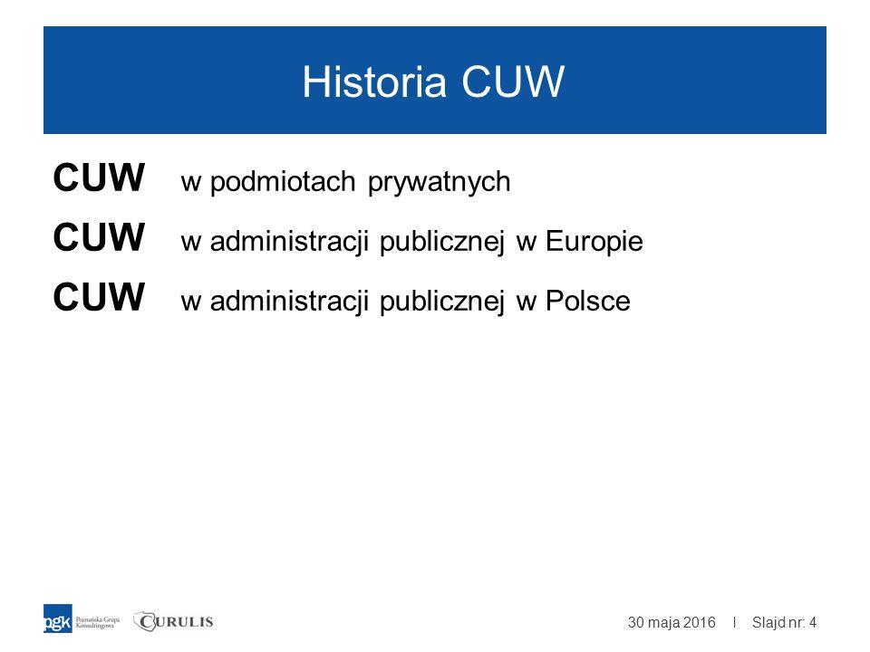 | Historia CUW CUW w podmiotach prywatnych CUW w administracji publicznej w Europie CUW w administracji publicznej w Polsce 30 maja 2016 Slajd nr: 4