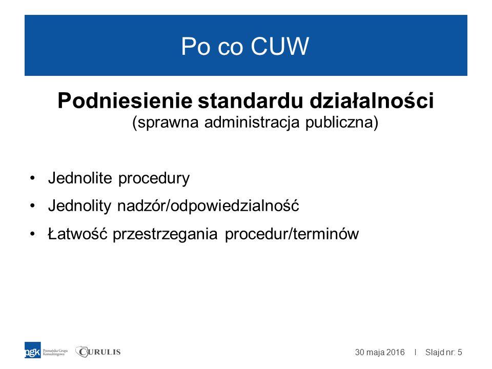 | Po co CUW Podniesienie standardu działalności (sprawna administracja publiczna) Jednolite procedury Jednolity nadzór/odpowiedzialność Łatwość przestrzegania procedur/terminów 30 maja 2016 Slajd nr: 5