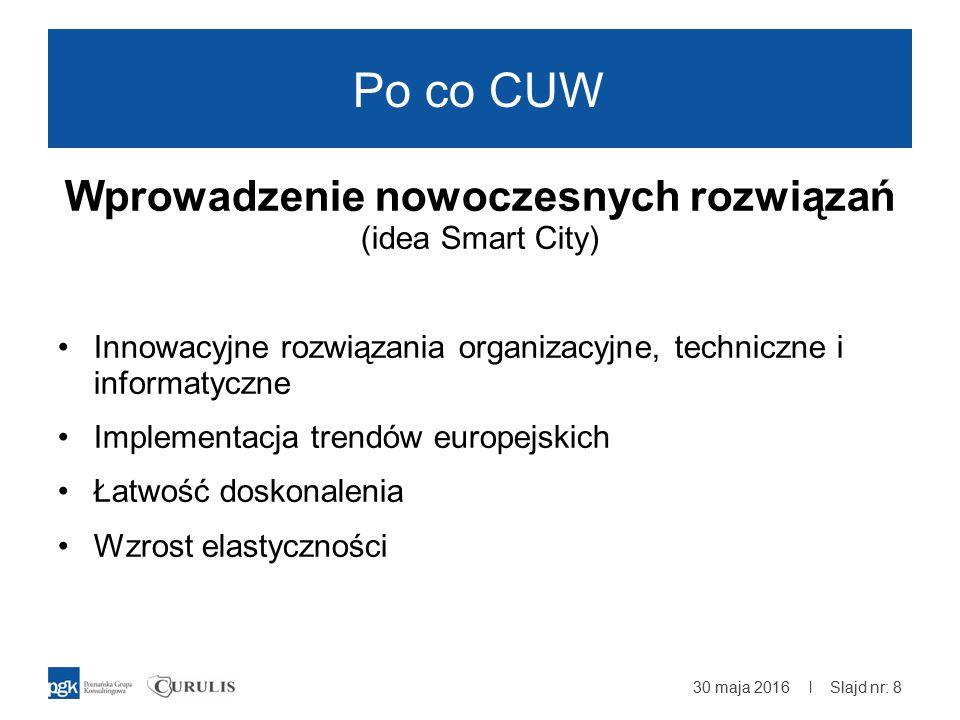 | Po co CUW Wprowadzenie nowoczesnych rozwiązań (idea Smart City) Innowacyjne rozwiązania organizacyjne, techniczne i informatyczne Implementacja trendów europejskich Łatwość doskonalenia Wzrost elastyczności 30 maja 2016 Slajd nr: 8