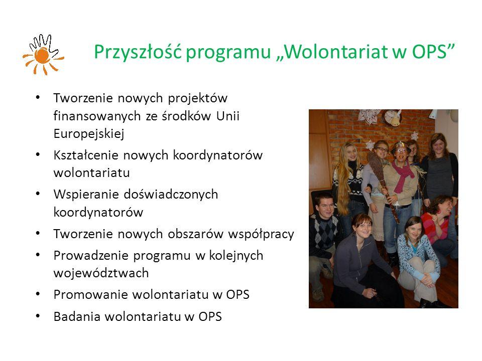 """Przyszłość programu """"Wolontariat w OPS Tworzenie nowych projektów finansowanych ze środków Unii Europejskiej Kształcenie nowych koordynatorów wolontariatu Wspieranie doświadczonych koordynatorów Tworzenie nowych obszarów współpracy Prowadzenie programu w kolejnych województwach Promowanie wolontariatu w OPS Badania wolontariatu w OPS"""