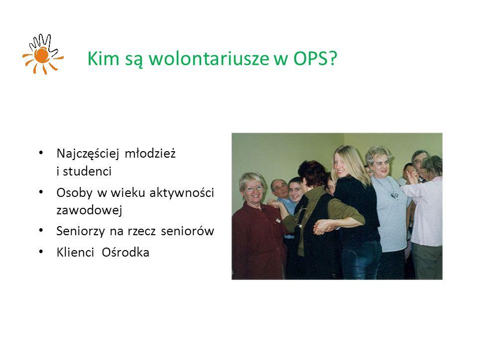 Najczęściej młodzież i studenci Osoby w wieku aktywności zawodowej Seniorzy na rzecz seniorów Klienci Ośrodka Kim są wolontariusze w OPS