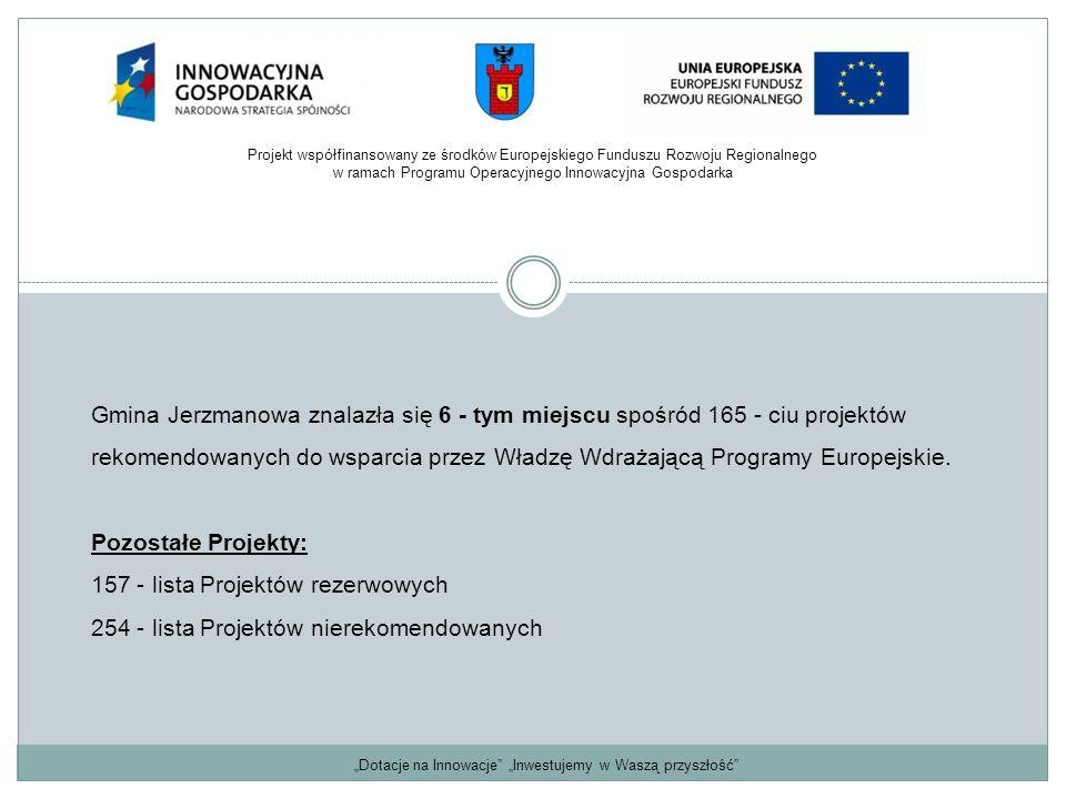 Gmina Jerzmanowa znalazła się 6 - tym miejscu spośród 165 - ciu projektów rekomendowanych do wsparcia przez Władzę Wdrażającą Programy Europejskie. Po