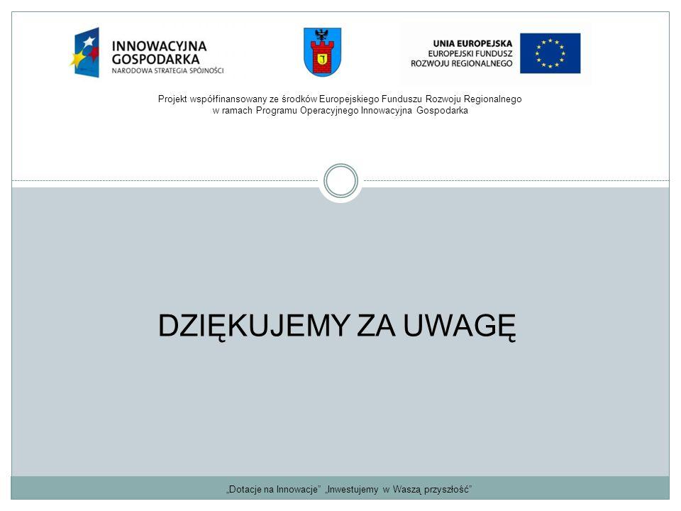 """""""Dotacje na Innowacje"""" """"Inwestujemy w Waszą przyszłość"""" DZIĘKUJEMY ZA UWAGĘ Projekt współfinansowany ze środków Europejskiego Funduszu Rozwoju Regiona"""
