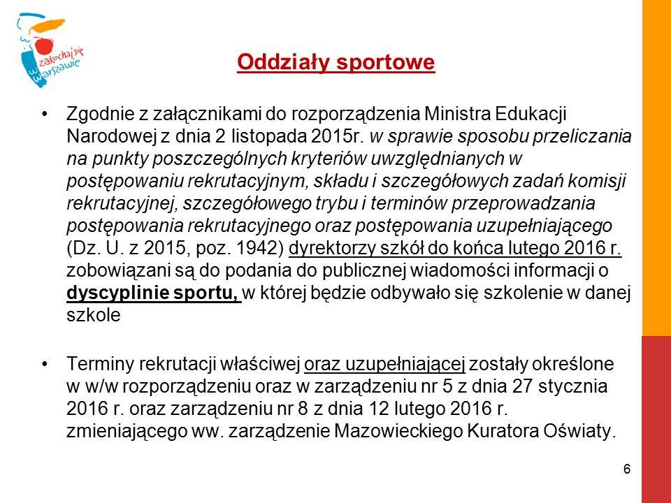 Oddziały sportowe - cd.