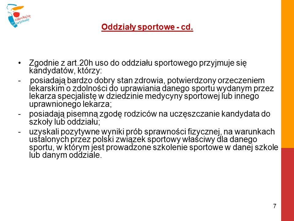 Oddziały sportowe-cd.