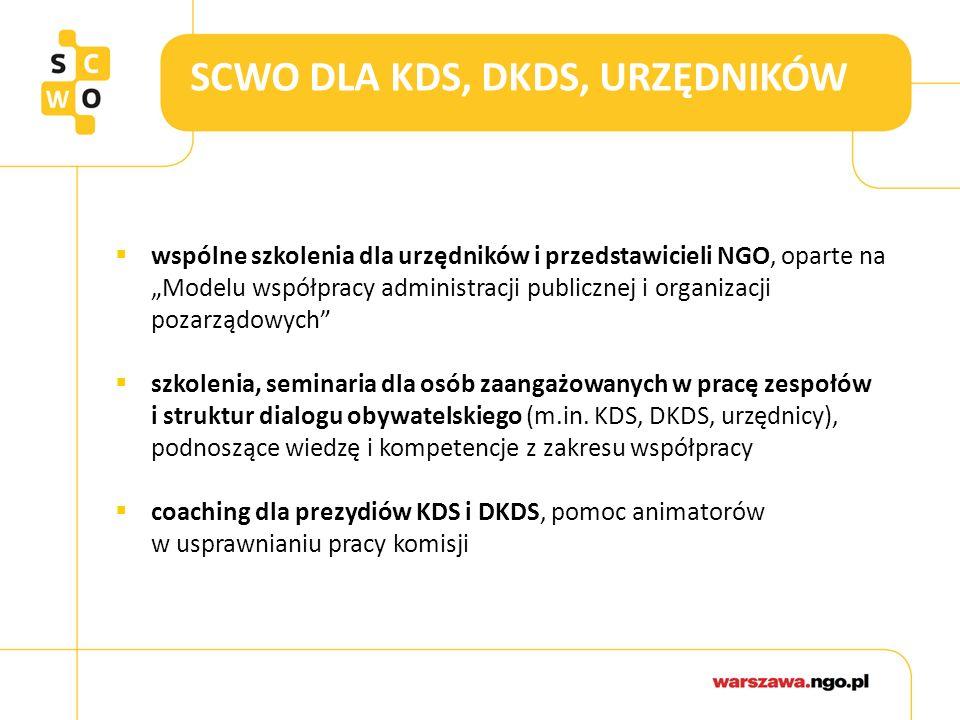 """SCWO DLA KDS, DKDS, URZĘDNIKÓW  wspólne szkolenia dla urzędników i przedstawicieli NGO, oparte na """"Modelu współpracy administracji publicznej i organizacji pozarządowych  szkolenia, seminaria dla osób zaangażowanych w pracę zespołów i struktur dialogu obywatelskiego (m.in."""